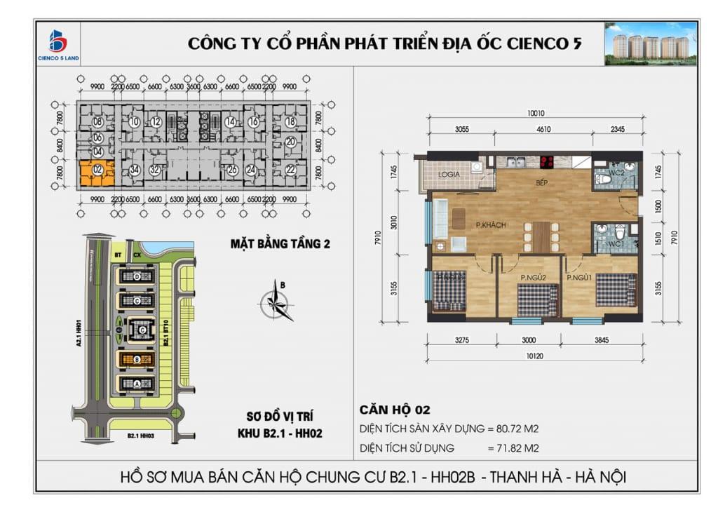 Mặt bằng căn 02 tầng 2 chung cư b2.1 hh02b thanh hà