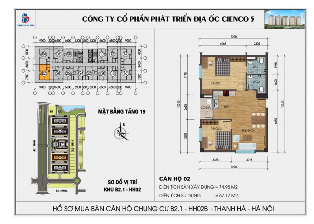 Mặt bằng căn hộ 02 chung b2.1 hh02b thanh hà mường thanh cienco5