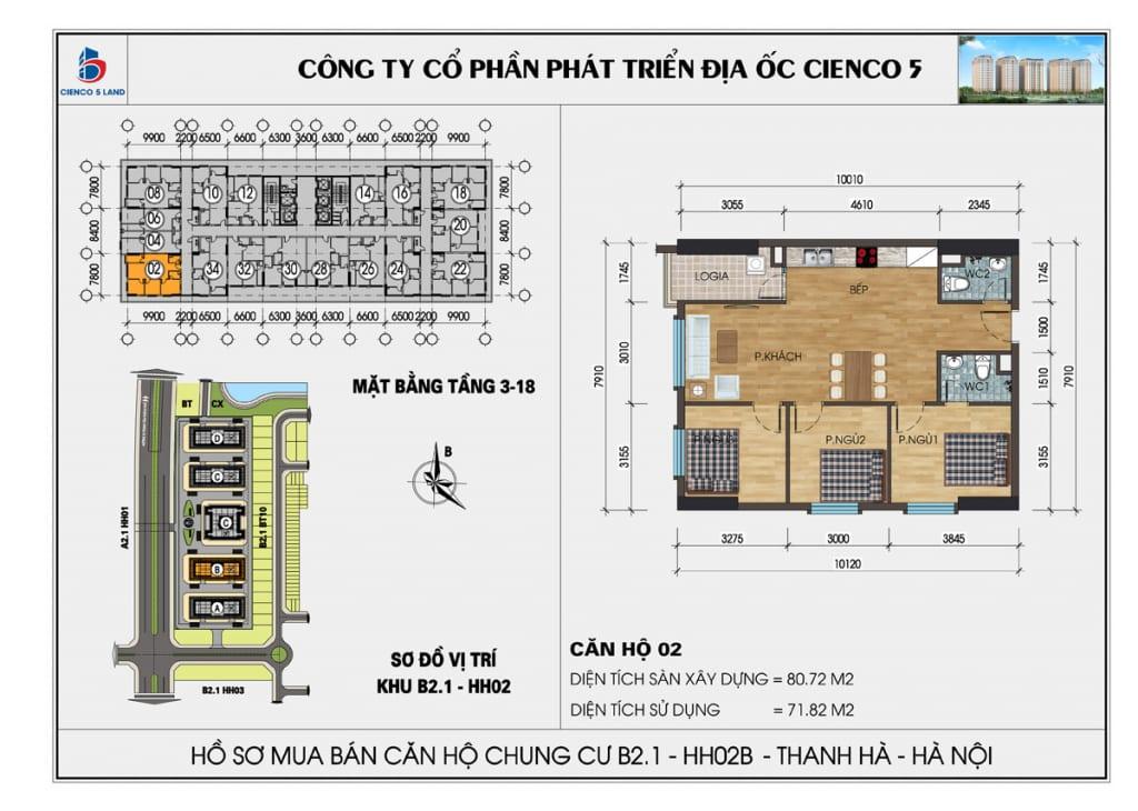 Mặt bằng căn 02 chung cư b2.1 hh02b thanh hà cienco 5 mường thanh