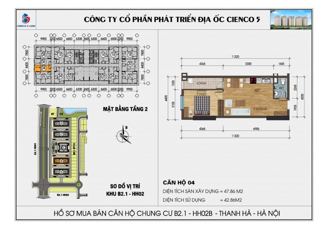 Mặt bằng căn 04 tầng 2 chung cư b2.1 hh02a thanh hà