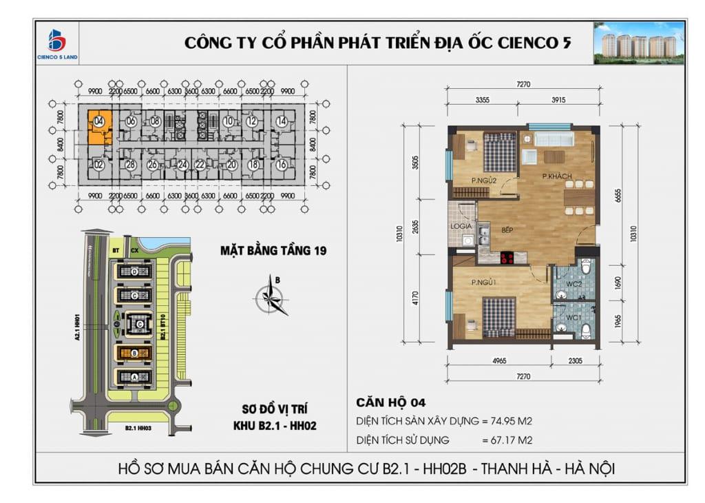 Mặt bằng căn hộ 04 chung b2.1 hh02b thanh hà mường thanh cienco5