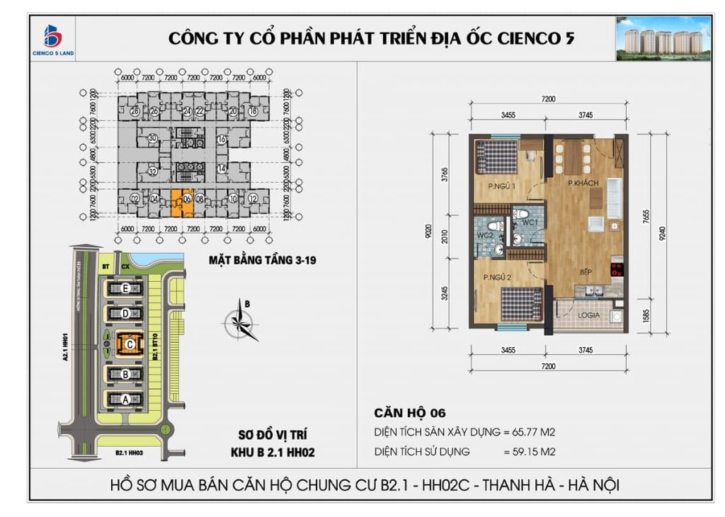 Mặt bằng căn hộ 06 chung b2.1 hh02c thanh hà mường thanh cienco5
