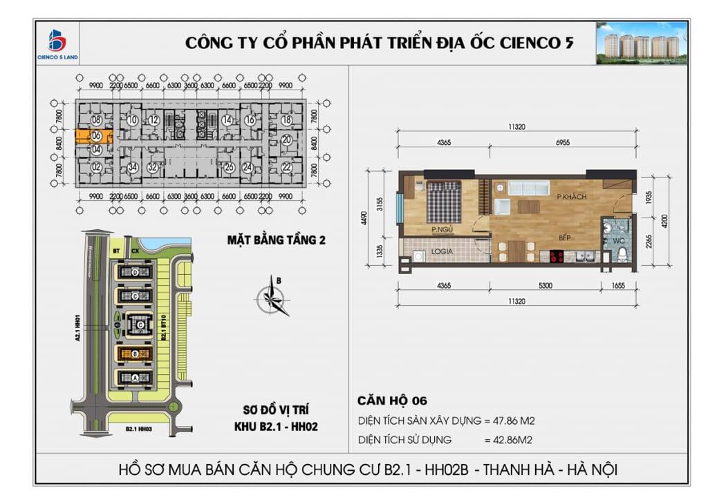 Mặt bằng căn 06 tầng 2 chung cư b2.1 hh02a thanh hà