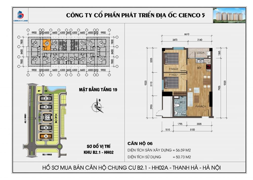 Mặt bằng căn hộ 06 chung b2.1 hh02a thanh hà mường thanh cienco 5