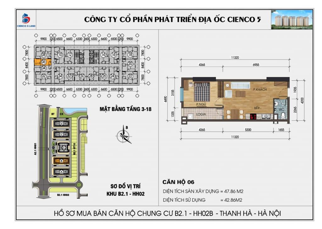 Mặt bằng căn 06 chung cư b2.1 hh02b thanh hà cienco 5 mường thanh