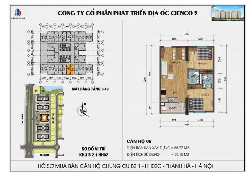 Mặt bằng căn hộ 08 chung b2.1 hh02c thanh hà mường thanh cienco5