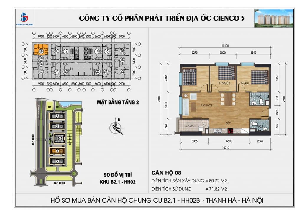 Mặt bằng căn 08 tầng 2 chung cư b2.1 hh02a thanh hà