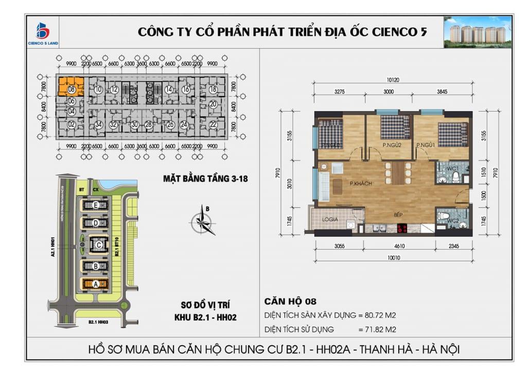 Mặt bằng căn hộ 08 chung b2.1 hh02a thanh hà mường thanh cienco5