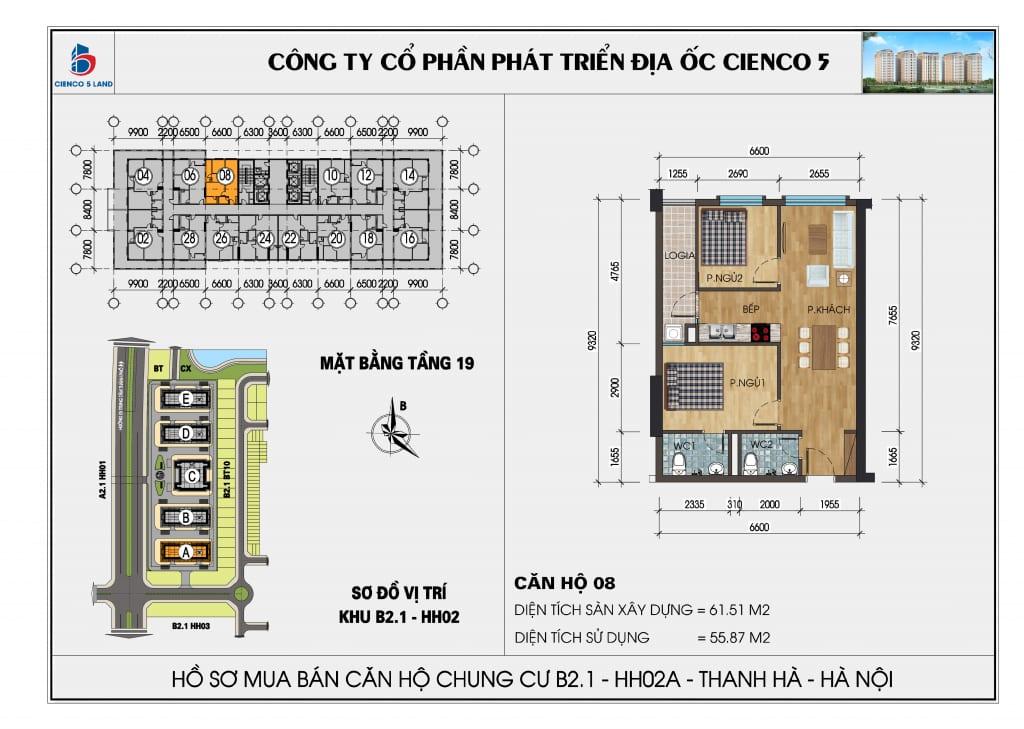 Mặt bằng căn hộ 08 chung b2.1 hh02a thanh hà mường thanh cienco 5