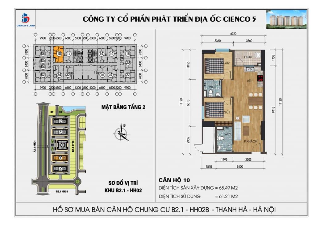 Mặt bằng căn 10 tầng 2 chung cư b2.1 hh02a thanh hà