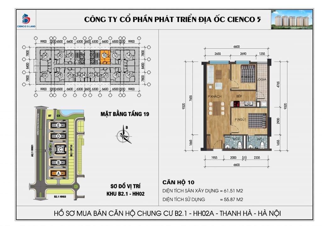 Mặt bằng căn hộ 10 chung b2.1 hh02a thanh hà mường thanh cienco 5