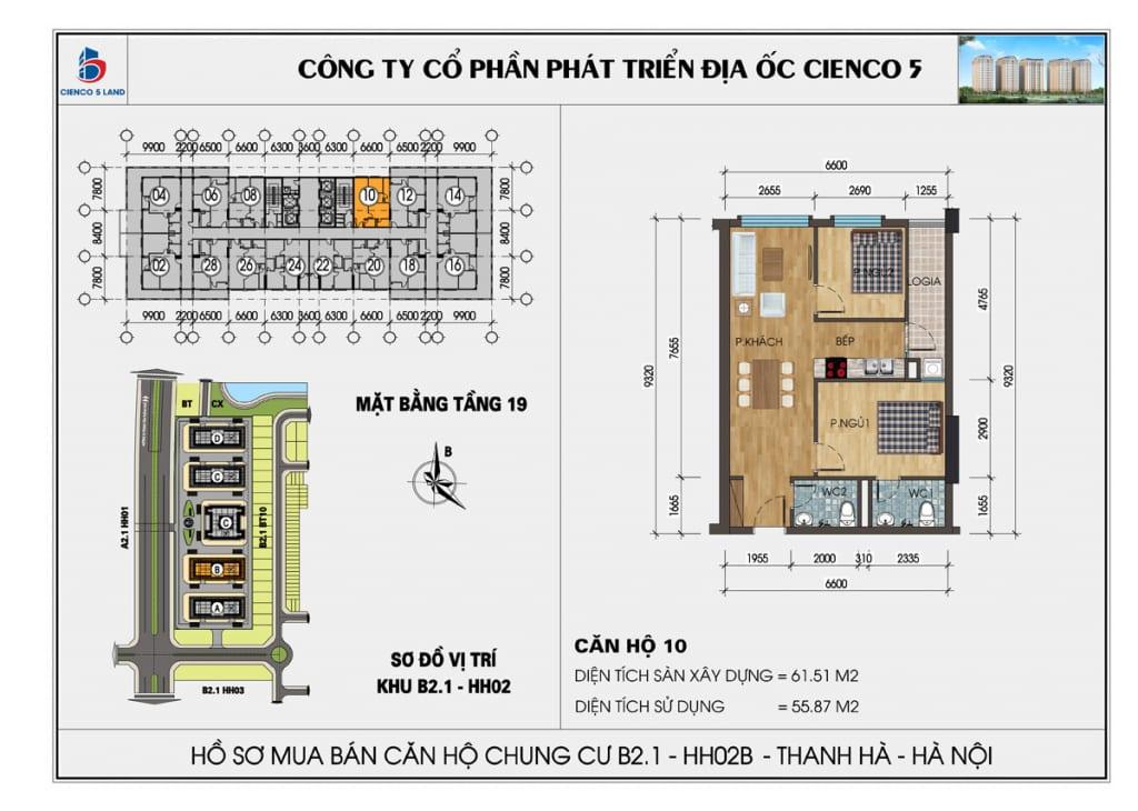 Mặt bằng căn hộ 10 chung b2.1 hh02b thanh hà mường thanh cienco5