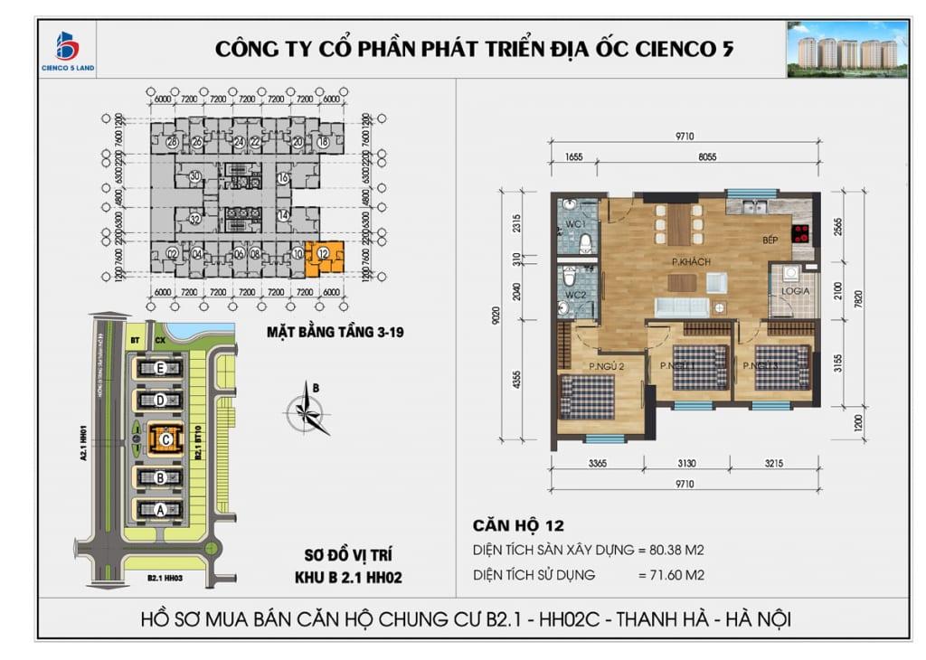 Mặt bằng căn hộ 12 chung b2.1 hh02c thanh hà mường thanh cienco5