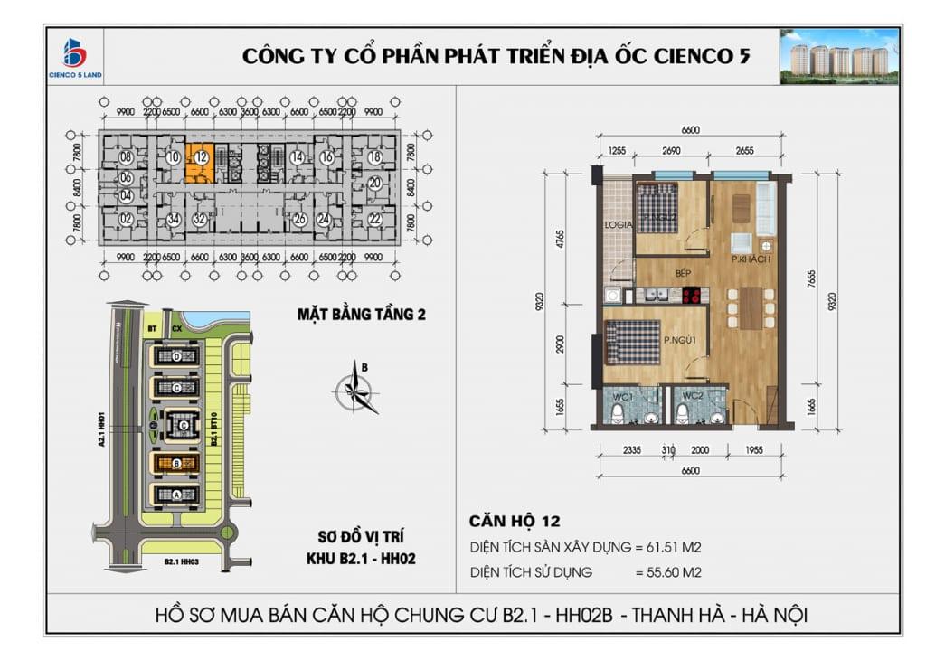 Mặt bằng căn 12 tầng 2 chung cư b2.1 hh02a thanh hà