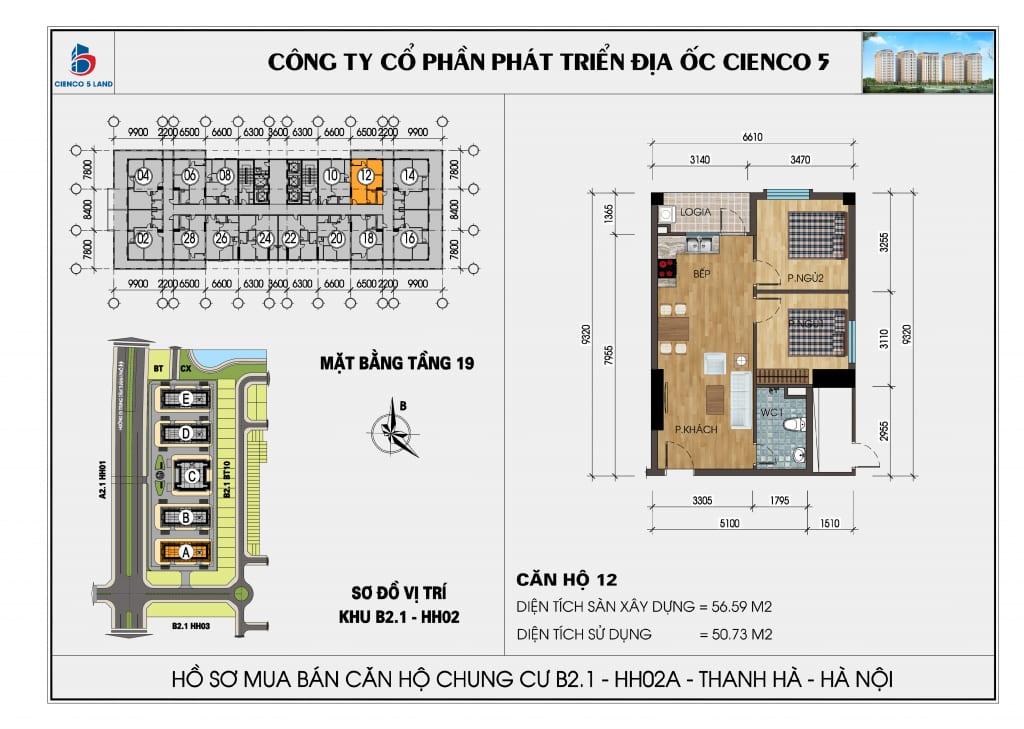 Mặt bằng căn hộ 12 chung b2.1 hh02a thanh hà mường thanh cienco 5
