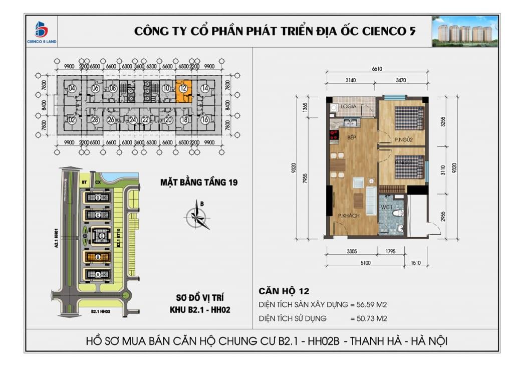 Mặt bằng căn hộ 12 chung b2.1 hh02b thanh hà mường thanh cienco5