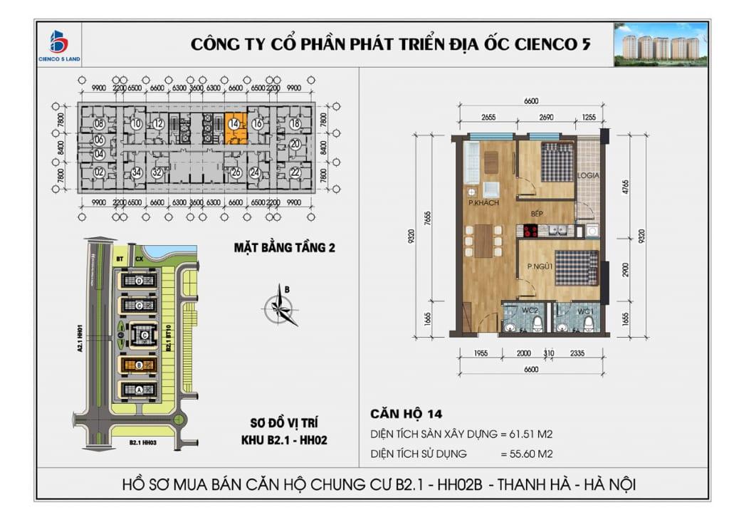 Mặt bằng căn 14 tầng 2 chung cư b2.1 hh02a thanh hà