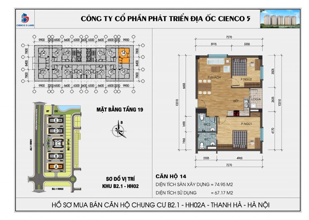Mặt bằng căn hộ 14 chung b2.1 hh02a thanh hà mường thanh cienco 5