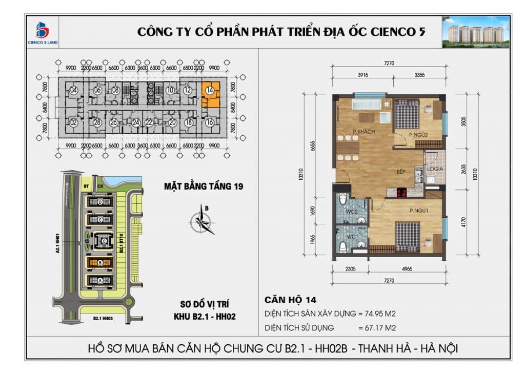 Mặt bằng căn hộ 14 chung b2.1 hh02b thanh hà mường thanh cienco5