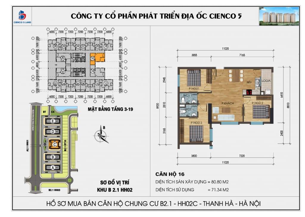 Mặt bằng căn hộ 16 chung b2.1 hh02c thanh hà mường thanh cienco5