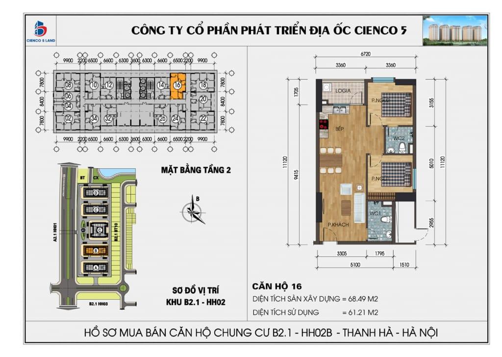 Mặt bằng căn 16 tầng 2 chung cư b2.1 hh02a thanh hà
