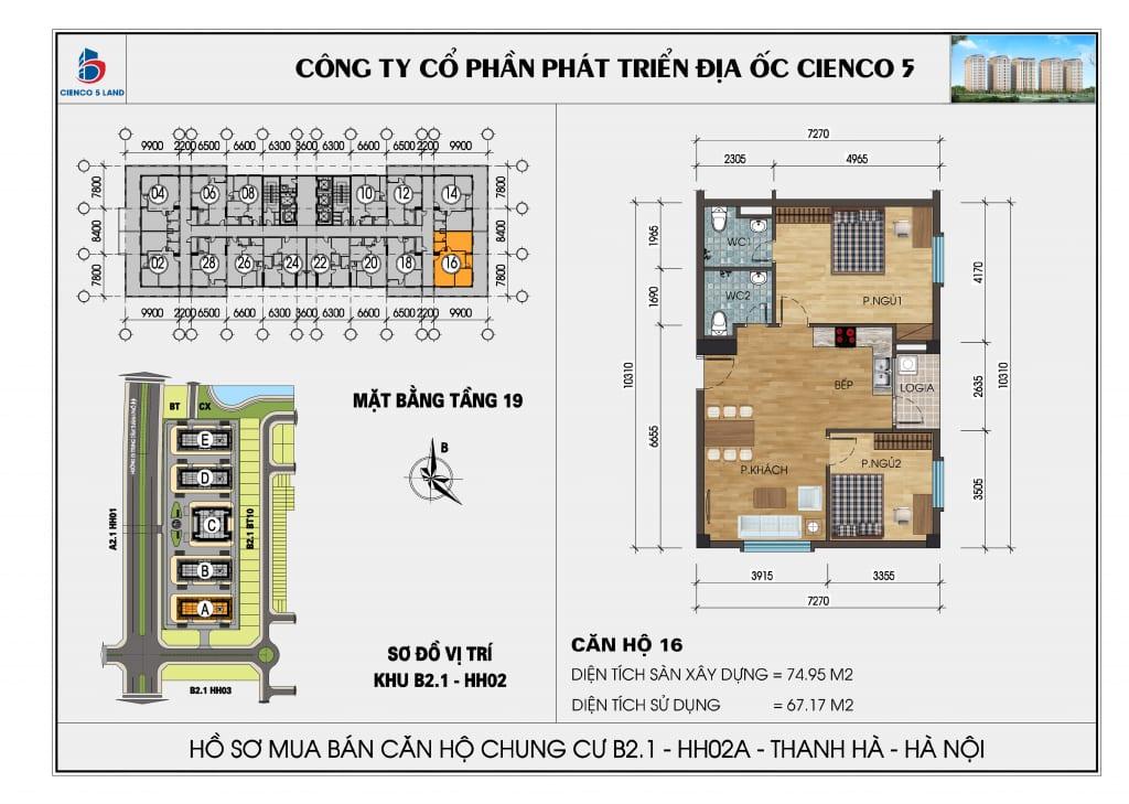 Mặt bằng căn hộ 16 chung b2.1 hh02a thanh hà mường thanh cienco 5