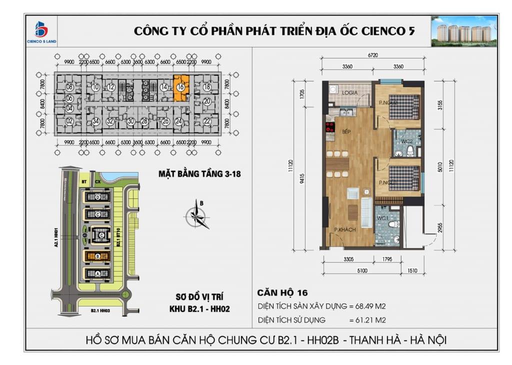 Mặt bằng căn 16 chung cư b2.1 hh02b thanh hà cienco 5 mường thanh