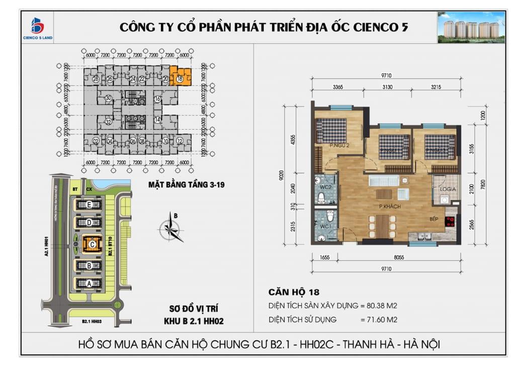 Mặt bằng căn hộ 18 chung b2.1 hh02c thanh hà mường thanh cienco5