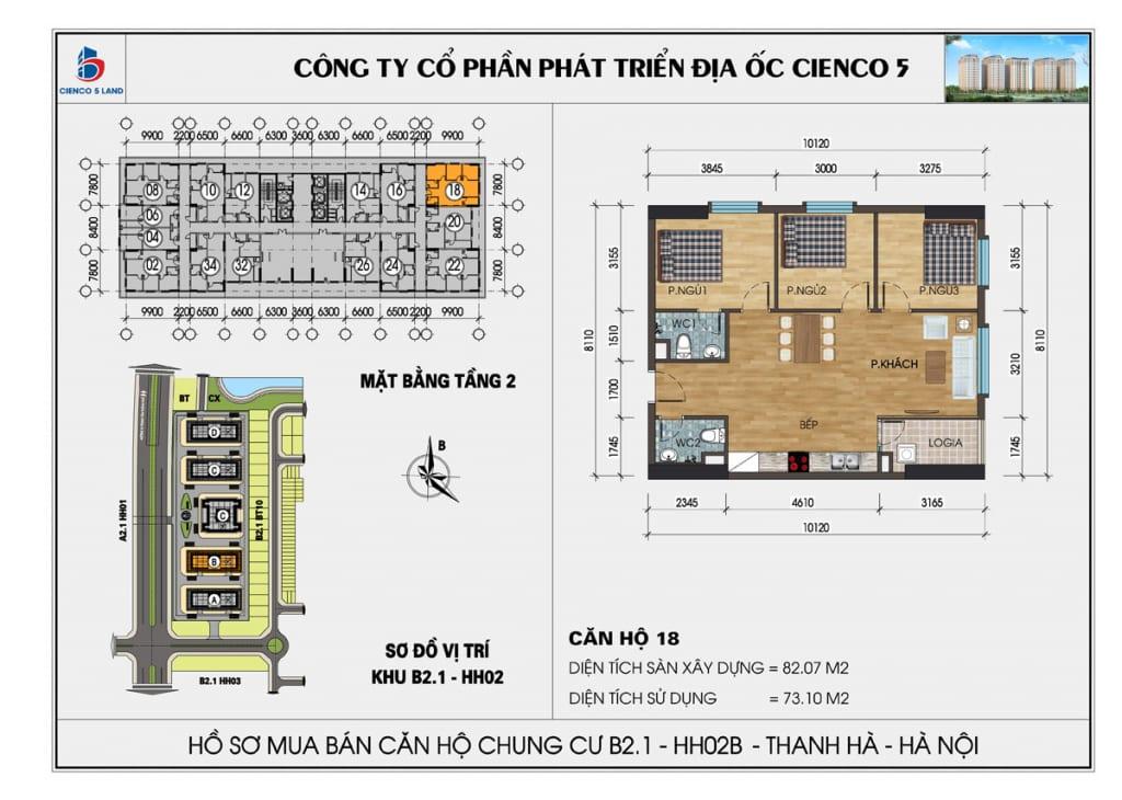 Mặt bằng căn 18 tầng 2 chung cư b2.1 hh02a thanh hà