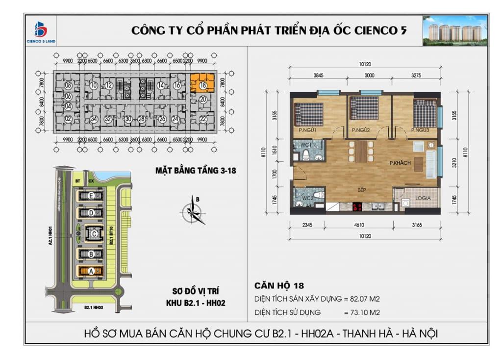 Mặt bằng căn hộ 18 chung b2.1 hh02a thanh hà mường thanh cienco5