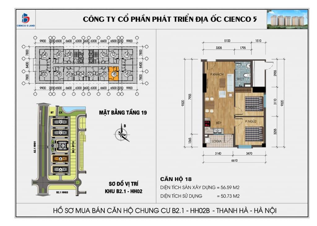 Mặt bằng căn hộ 18 chung b2.1 hh02b thanh hà mường thanh cienco5