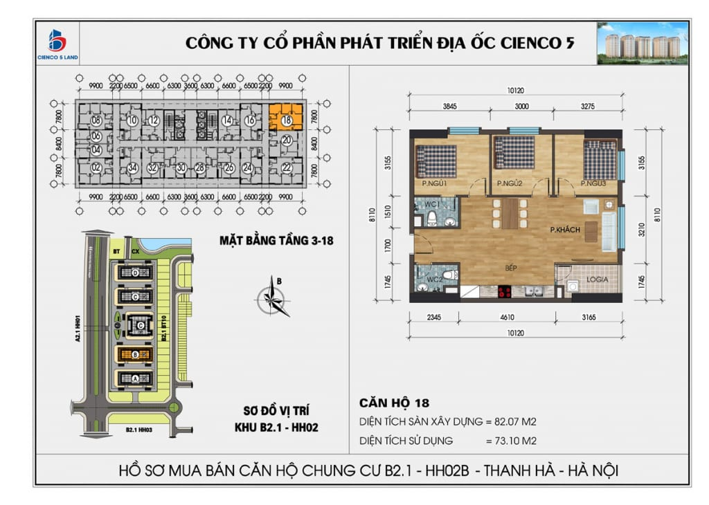Mặt bằng căn 18 chung cư b2.1 hh02b thanh hà cienco 5 mường thanh