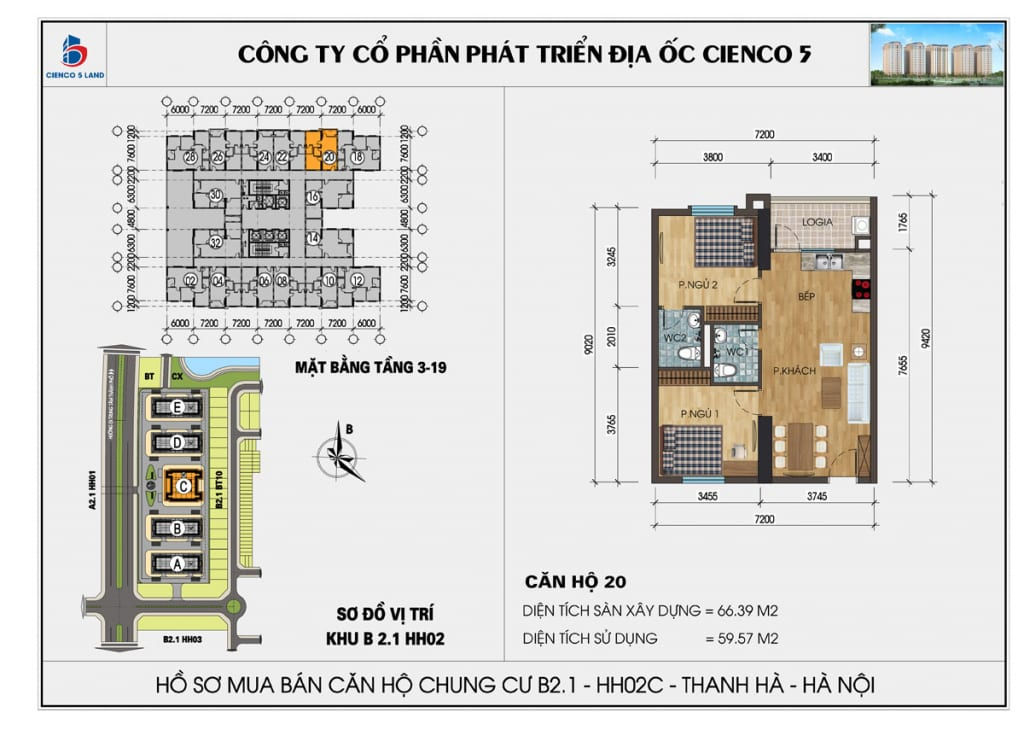 Mặt bằng căn hộ 20 chung b2.1 hh02c thanh hà mường thanh cienco5