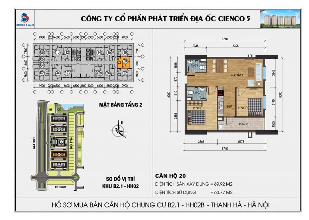 Mặt bằng căn 20 tầng 2 chung cư b2.1 hh02a thanh hà