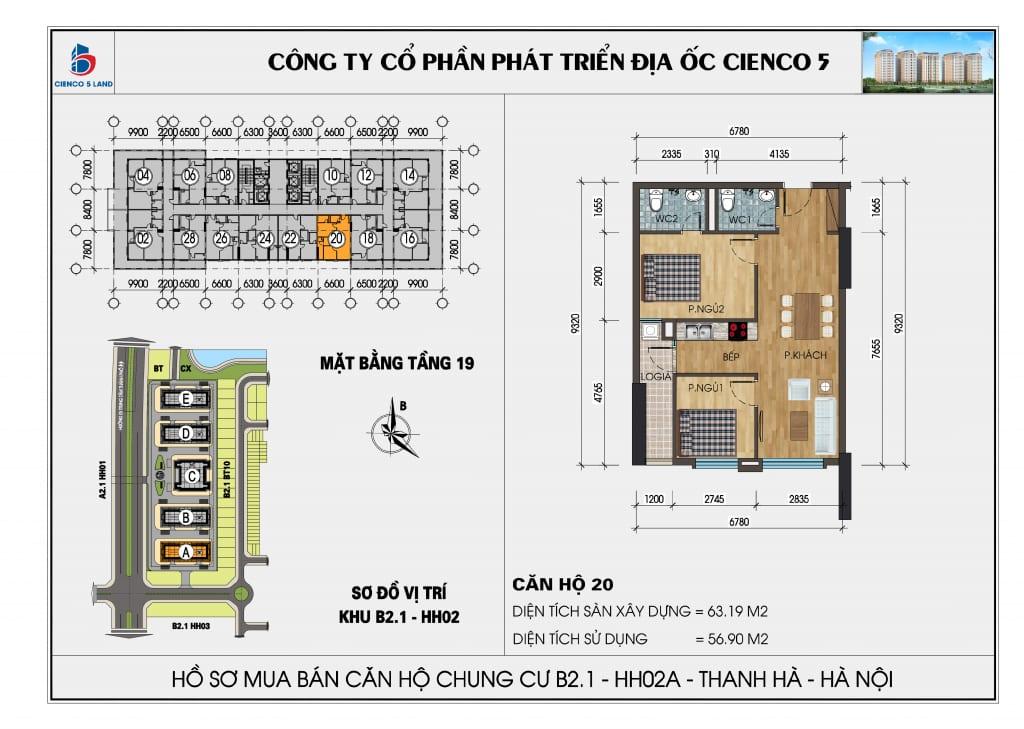 Mặt bằng căn hộ 20 chung b2.1 hh02a thanh hà mường thanh cienco 5