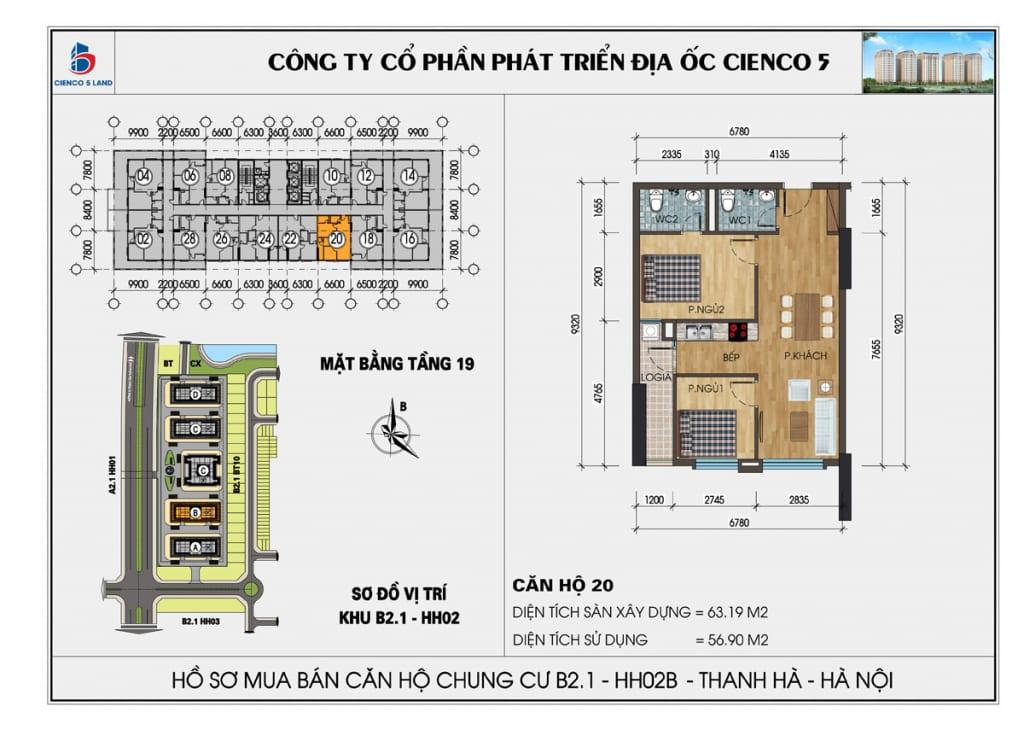 Mặt bằng căn hộ 20 chung b2.1 hh02b thanh hà mường thanh cienco5