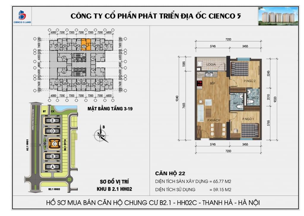 Mặt bằng căn hộ 22 chung b2.1 hh02c thanh hà mường thanh cienco5