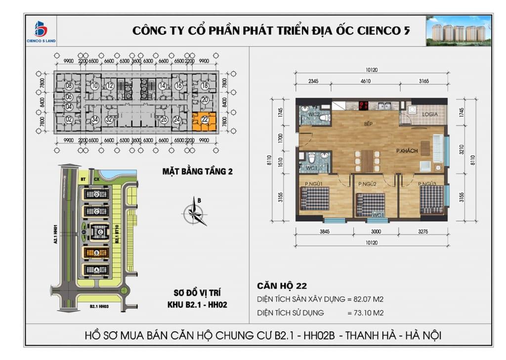 Mặt bằng căn 22 tầng 2 chung cư b2.1 hh02a thanh hà