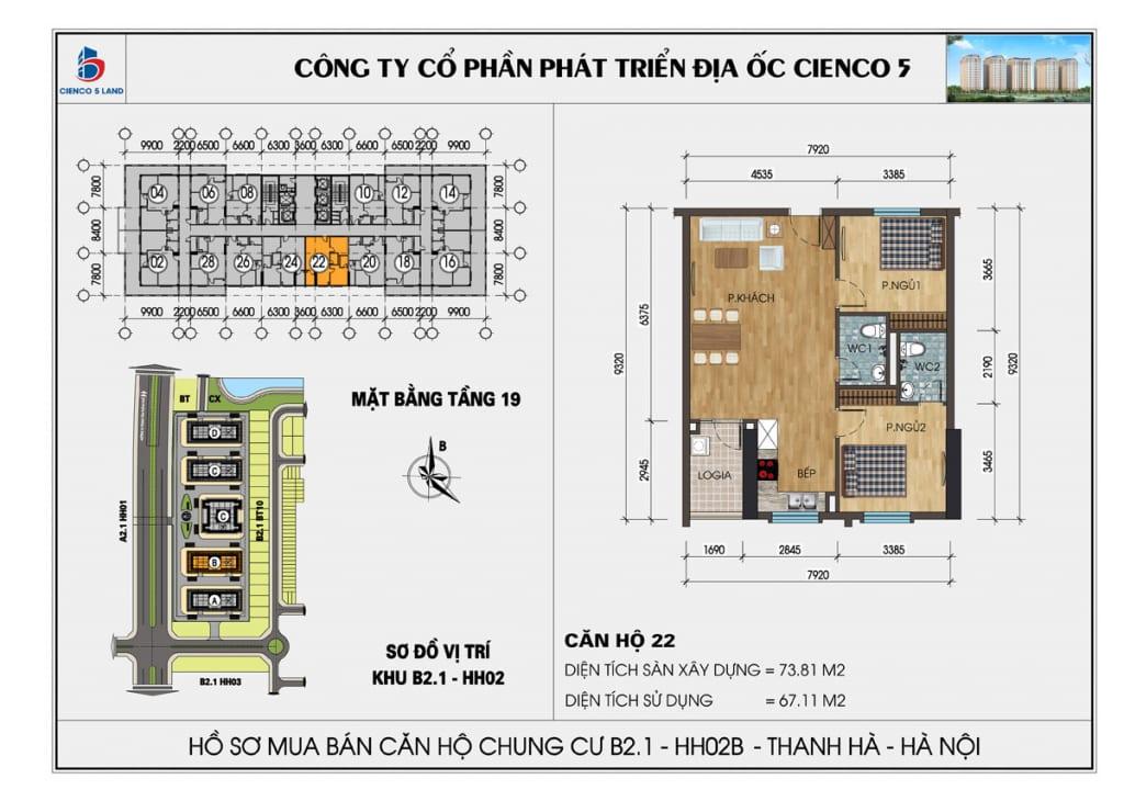 Mặt bằng căn hộ 22 chung b2.1 hh02b thanh hà mường thanh cienco5