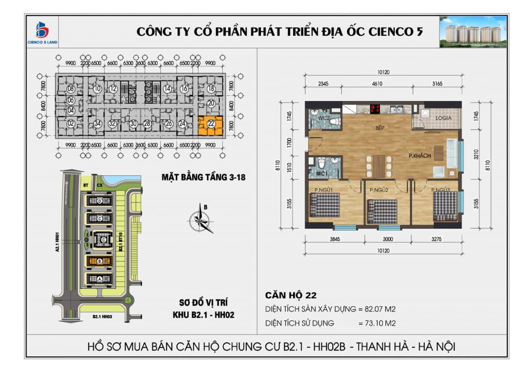 Mặt bằng căn 22 chung cư b2.1 hh02b thanh hà cienco 5 mường thanh