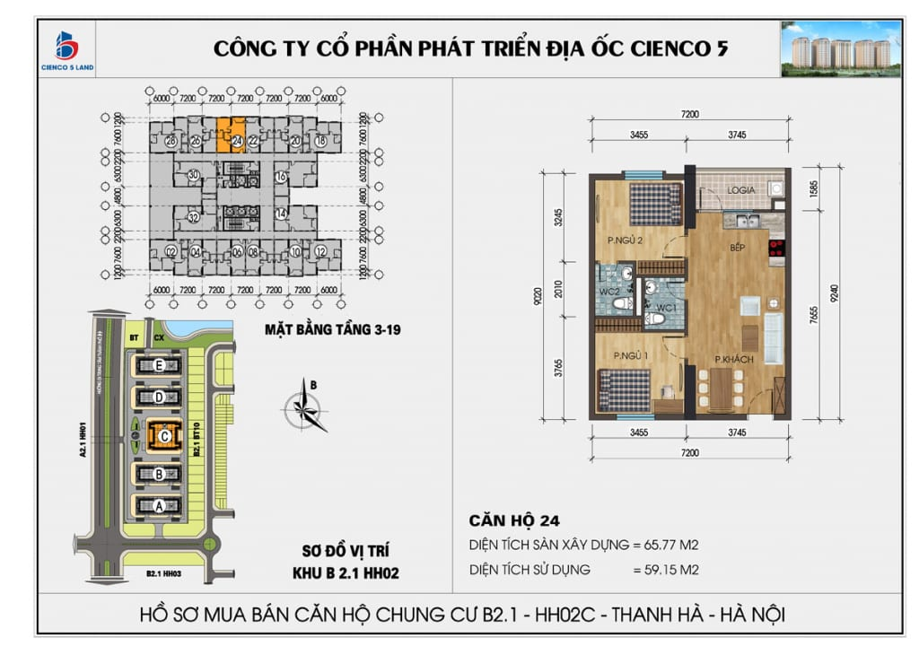Mặt bằng căn hộ 24 chung b2.1 hh02c thanh hà mường thanh cienco5