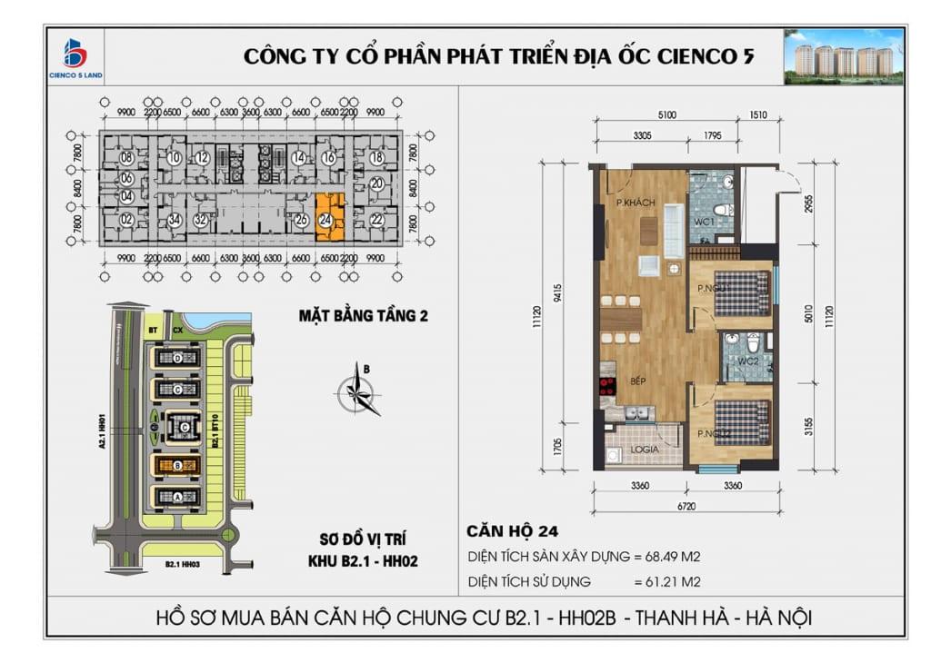 Mặt bằng căn 24 tầng 2 chung cư b2.1 hh02a thanh hà