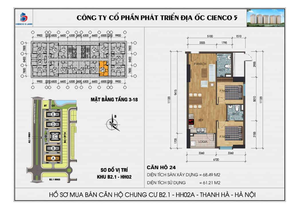 Mặt bằng căn hộ 24 chung b2.1 hh02a thanh hà mường thanh cienco5