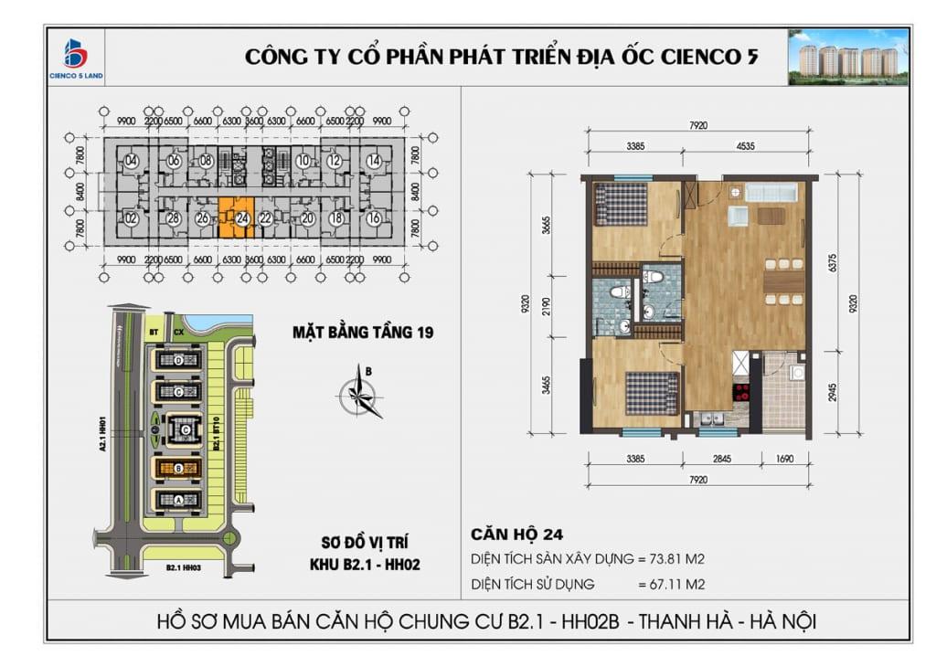 Mặt bằng căn hộ 24 chung b2.1 hh02b thanh hà mường thanh cienco5