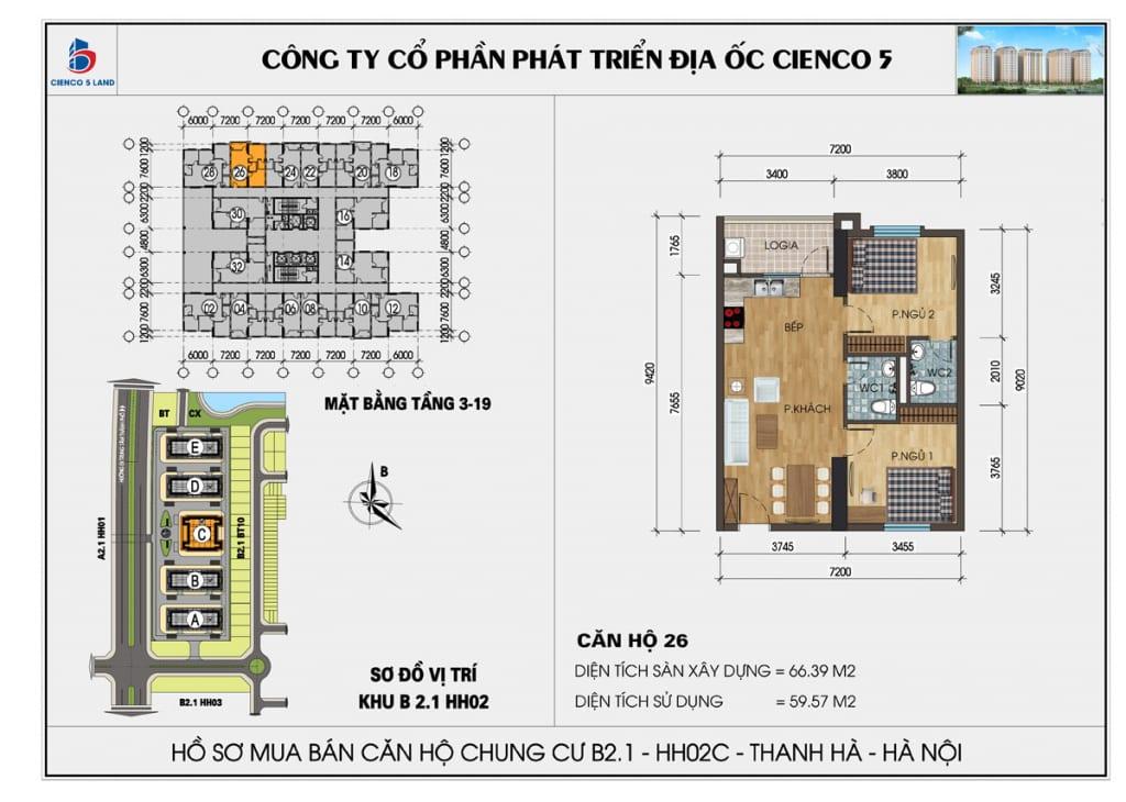 Mặt bằng căn hộ 26 chung b2.1 hh02c thanh hà mường thanh cienco5