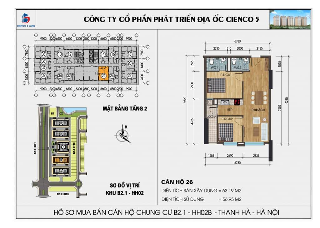 Mặt bằng căn 26 tầng 2 chung cư b2.1 hh02a thanh hà