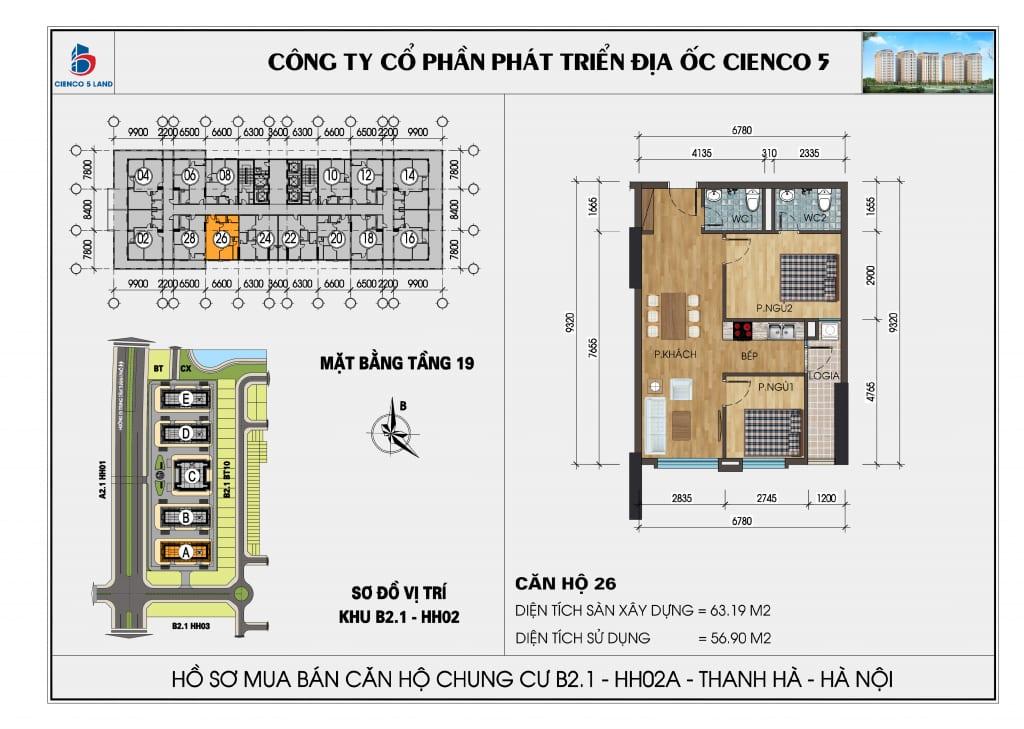 Mặt bằng căn hộ 26 chung b2.1 hh02a thanh hà mường thanh cienco 5