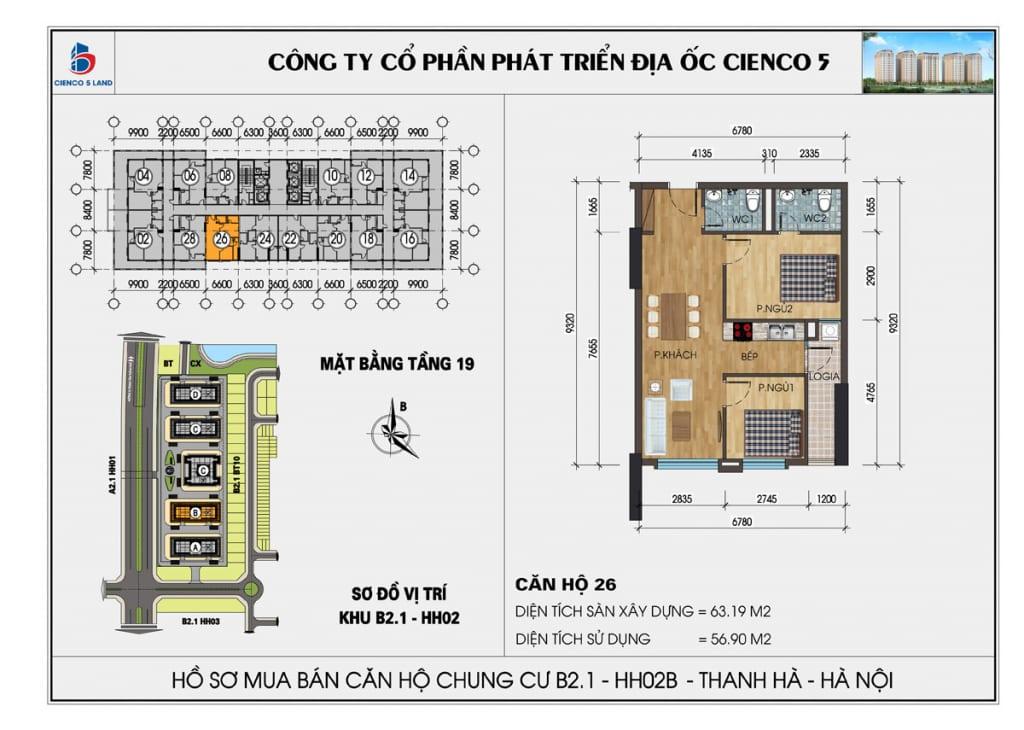 Mặt bằng căn hộ 26 chung b2.1 hh02b thanh hà mường thanh cienco5