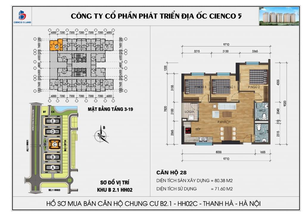 Mặt bằng căn hộ 28 chung b2.1 hh02c thanh hà mường thanh cienco5
