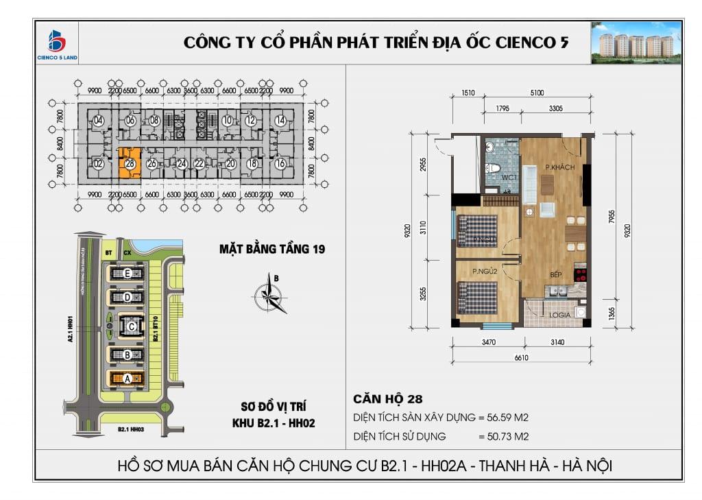 Mặt bằng căn hộ 28 chung b2.1 hh02a thanh hà mường thanh cienco 5
